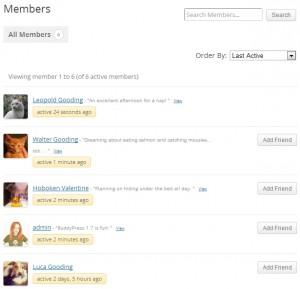 Каталог членов по умолчанию в BuddyPress