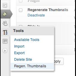 Regenerate Thumbnails находится в меню Tools