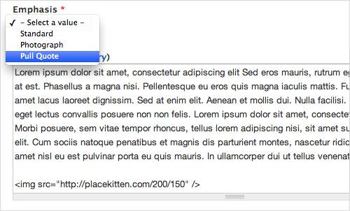 Простой тип контента, предлагающий редакторам выбор полей для визуального акцентирования