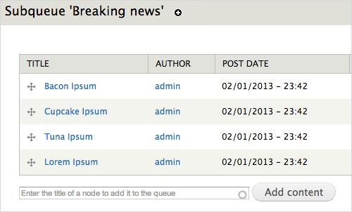 Модуль Nodequeue для Drupal, позволяющий редакторам управлять различными списками контента для вывода на сложных посадочных страницах