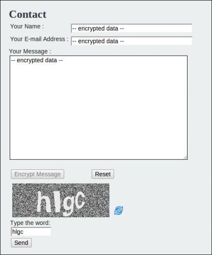 Контактная форма с зашифрованными данными