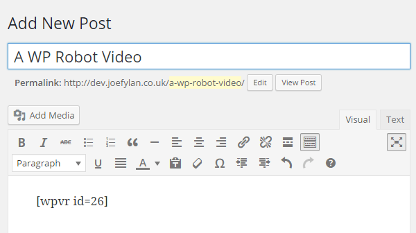 WP-Video-Robot-Shortcode