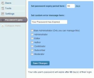 Страница настроек плагина WordPress Password Expiry