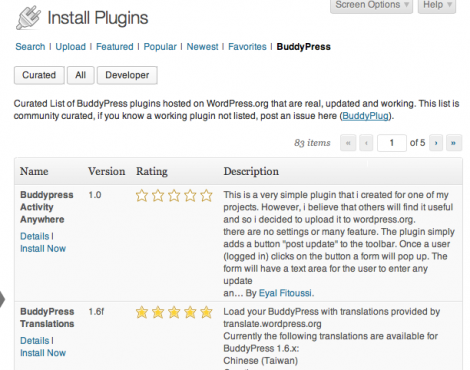 BuddyPlug - список рекомендуемых плагинов для BuddyPress