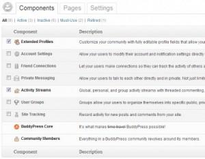 Экран компонентов BuddyPress