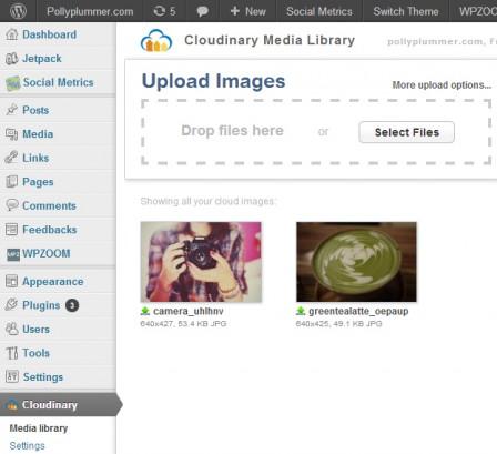 Медиа библиотека Cloudinary в консоли WP