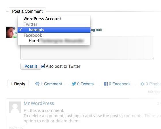 Комментарии из профилей Facebook и Twitter отображаются рядом с обычными комментариями WordPress