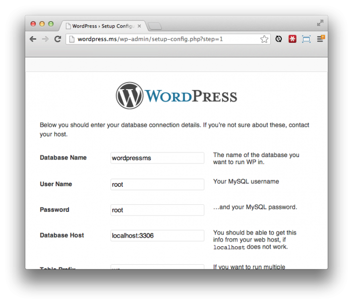 Обычная пятиминутная установка WordPress