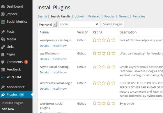 Пример вывода доступных плагинов с Github