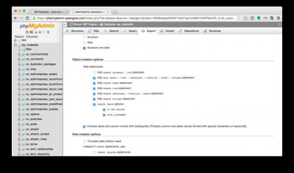 WordPress-install-phpmyadmin-export-settings