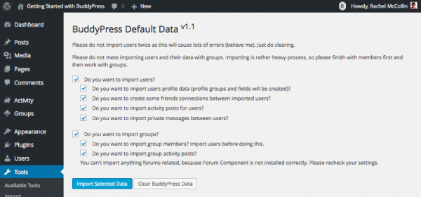 buddypress-default-data-setup