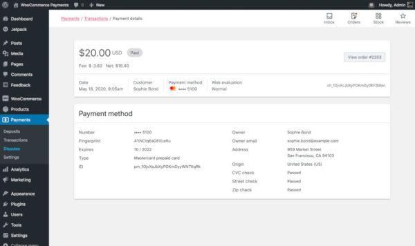 WooCommerce Payments позволяет владельцам магазинов управлять платежами, не покидая админку WordPress