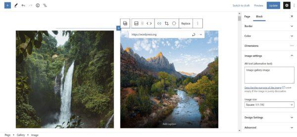 Добавление ссылки на блок Image в галерее